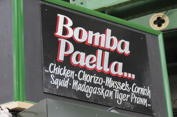 Cartel Paella con chorizo