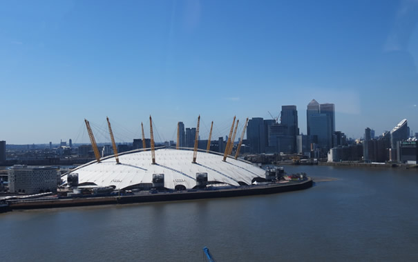 O2 arena desde el teleférico de Londres