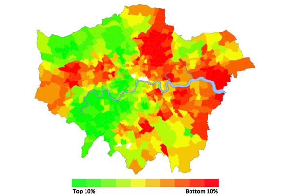 Mapa de Londres indicando las mejores y las peores zonas donde vivir