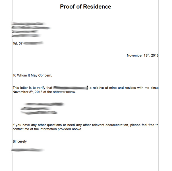 Proof of residence - ejemplo