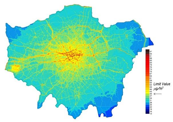 Mapa de NO2 en Londres en 2008