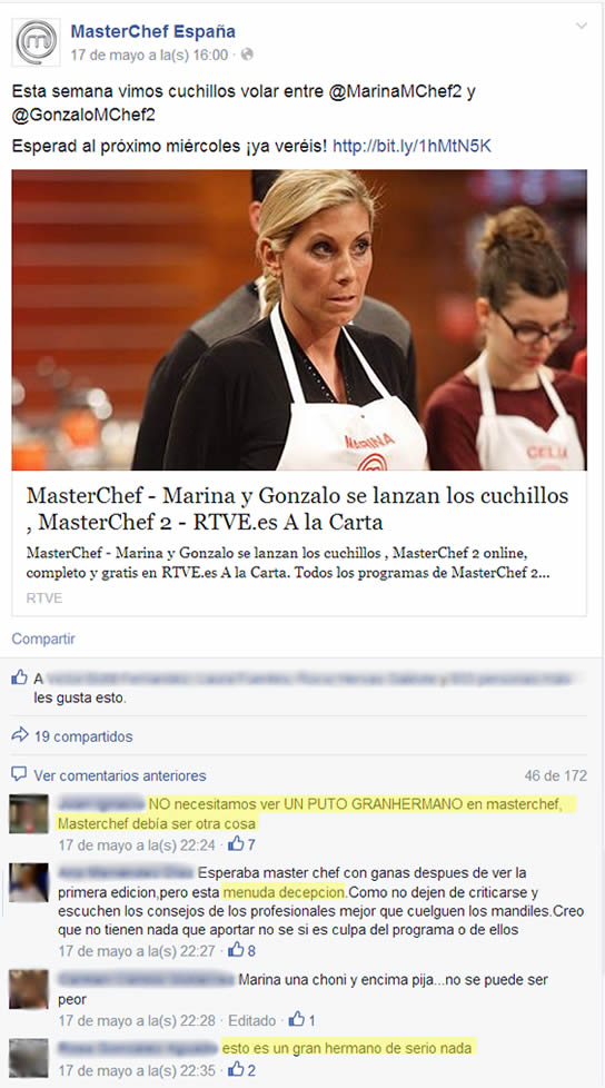 Comentarios en Facebook MasterChef España