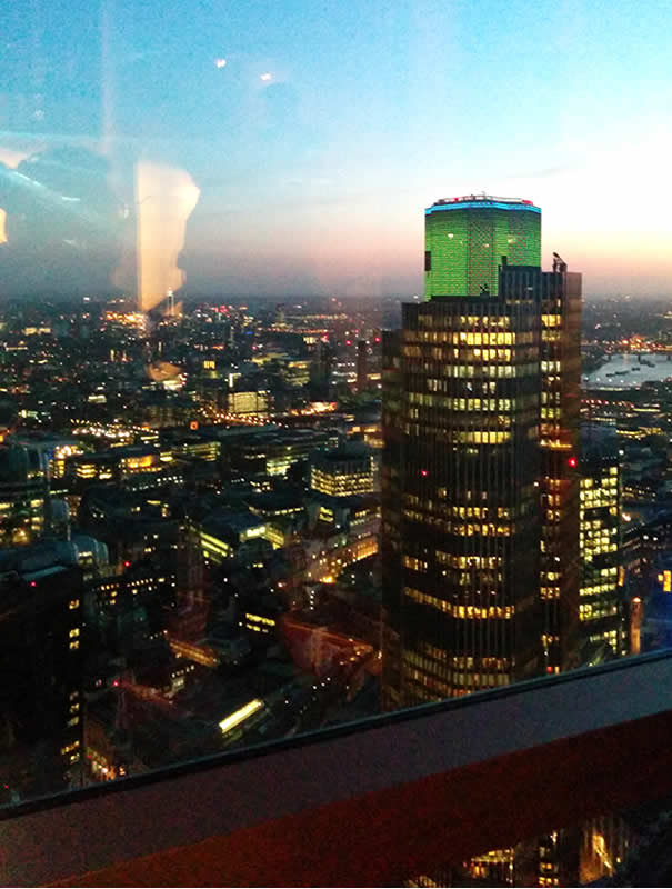 Vistas de la City of London desde restaurante SushiSamba