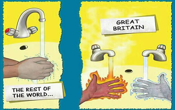 Comparativo de grifos en Reino Unido y en el resto del mundo