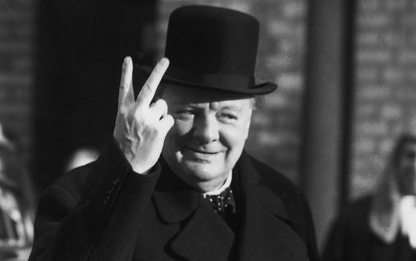 Churchill palm-back V sign