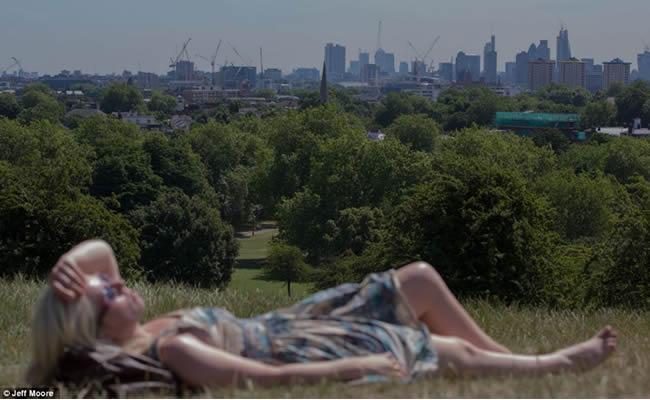 Mujer tomando el sol en Primrose Hill