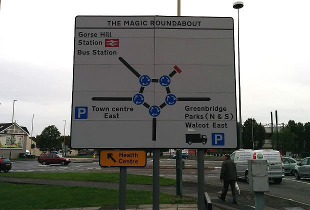 Señal de The Magic Roundabout en Swindon