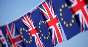 Bandera británica y europea