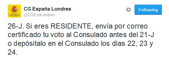 Tweet del Consulado de España en Londres