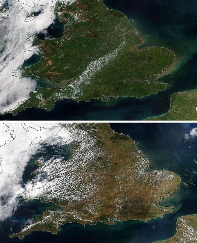 Mapa de UK antes y después de la ola de calor 2018