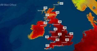 Mapa ola de calor UK